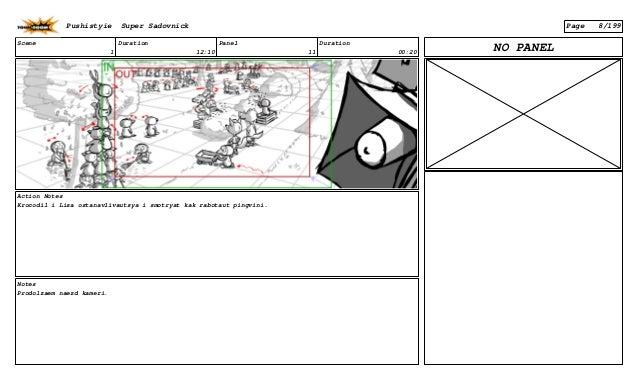 Scene 1 Duration 12:10 Panel 11 Duration 00:20 Action Notes Krocodil i Lisa ostanavlivautsya i smotryat kak rabotaut pingv...