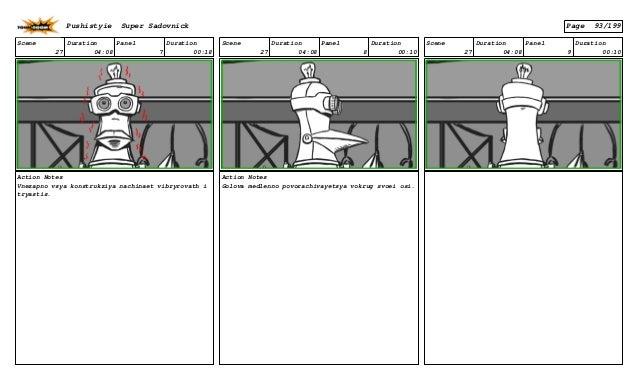 Scene 27 Duration 04:08 Panel 7 Duration 00:18 Action Notes Vnezapno vsya konstrukziya nachinaet vibryrovath i tryastis. S...