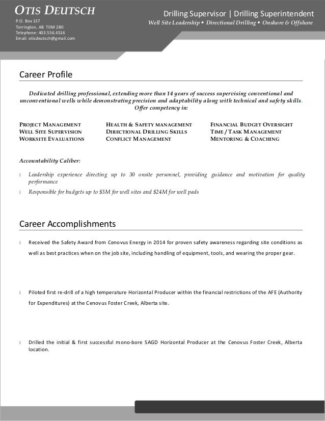 Deutschotis Drilling Supervisor Resume Od Edit