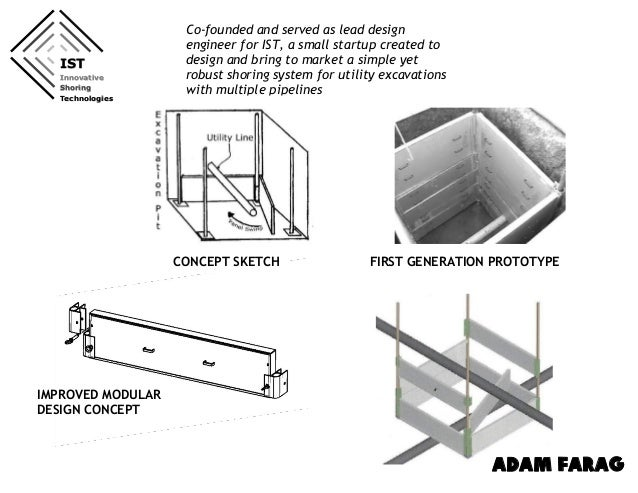 FIRST GENERATION PROTOTYPE IMPROVED MODULAR DESIGN CONCEPT IST Innovative Shoring Technologies ADAM FARAG Co-founded and s...
