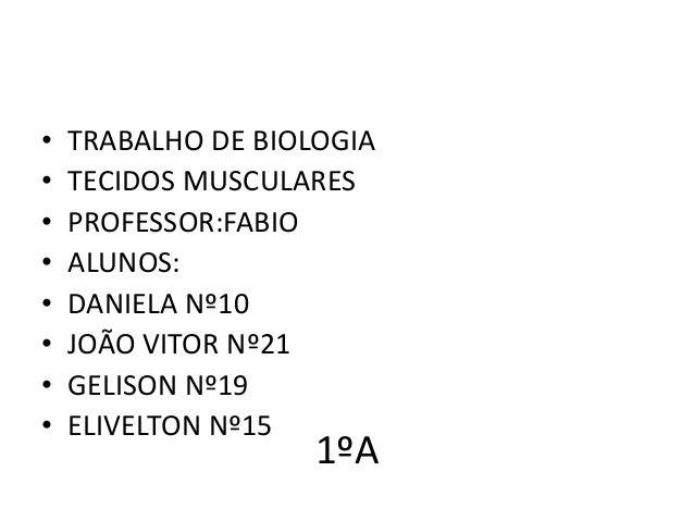 • • • • • • • •  TRABALHO DE BIOLOGIA TECIDOS MUSCULARES PROFESSOR:FABIO ALUNOS: DANIELA Nº10 JOÃO VITOR Nº21 GELISON Nº19...