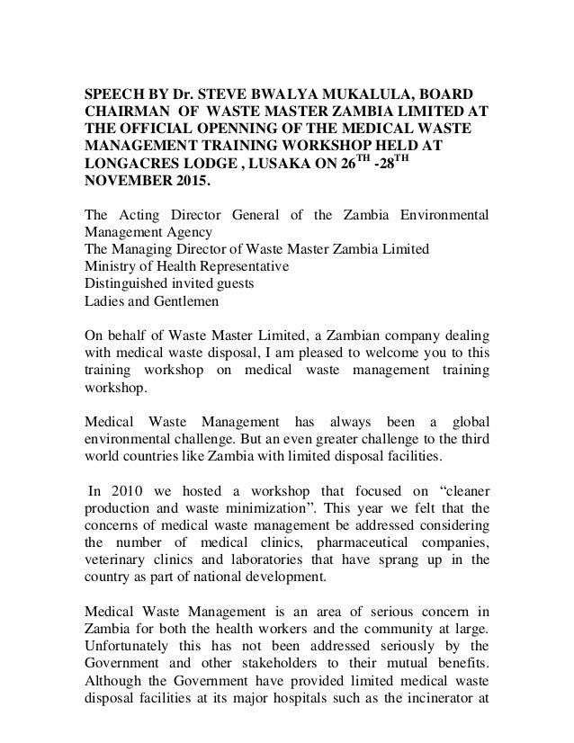 speech on waste management