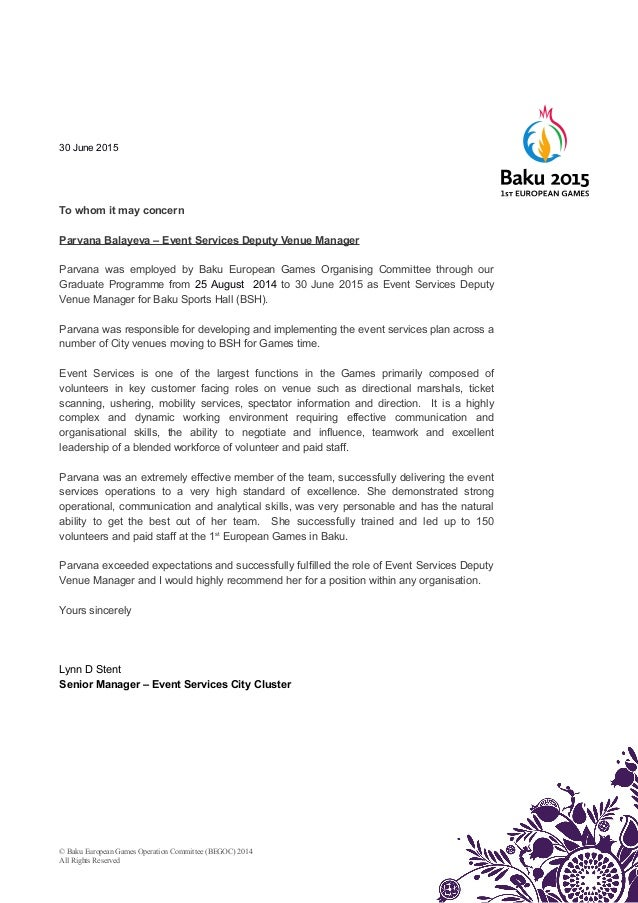 EVS Staff Reference Letter Parvana – Reference Letter for Staff