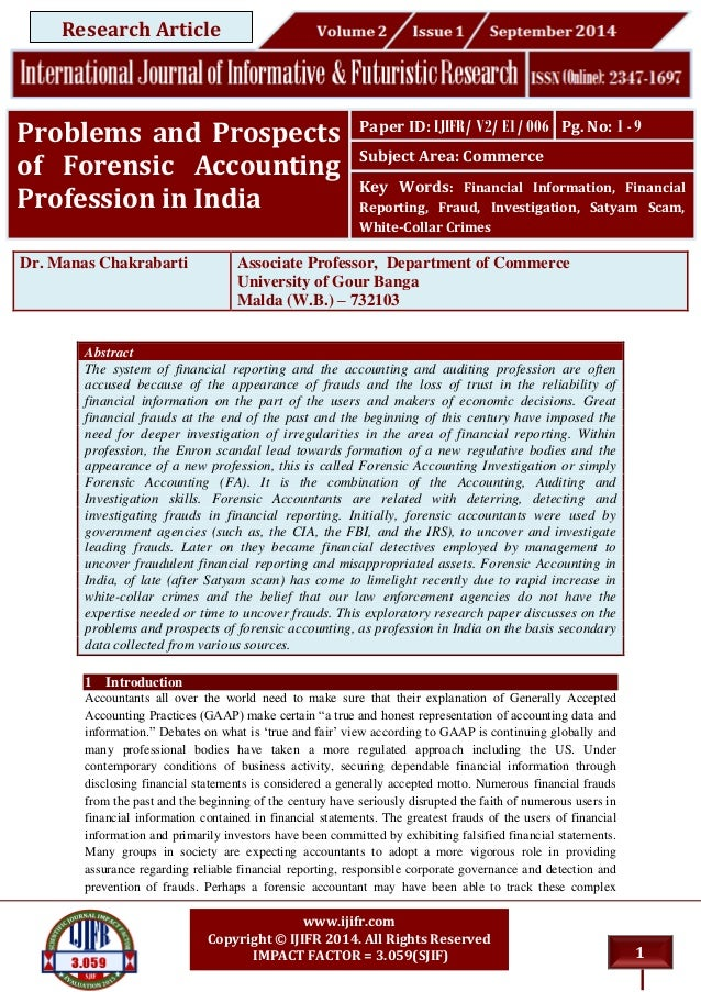 Problem & Prospects of Forensic Accounting in India