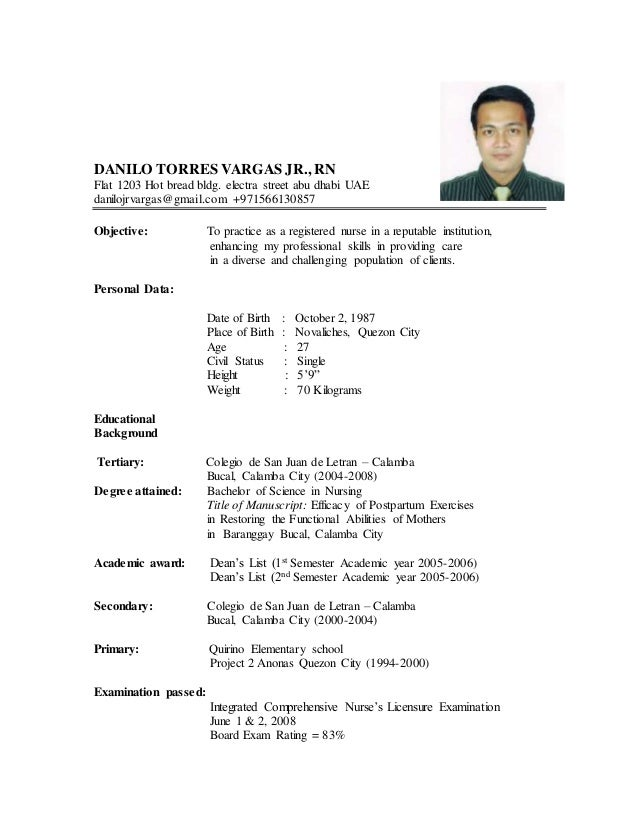 format of resume in the philippines