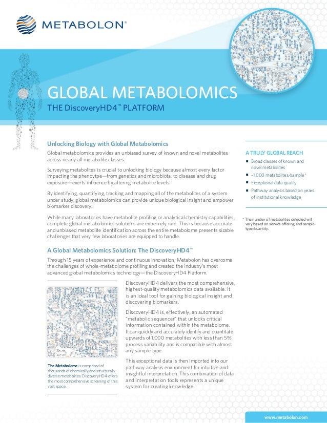 www.metabolon.com GLOBAL METABOLOMICS THE DiscoveryHD4™ PLATFORM Unlocking Biology with Global Metabolomics Global metabol...
