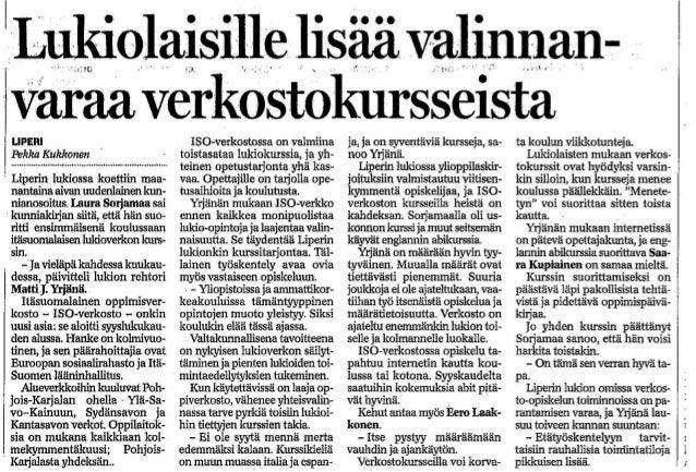 Lehtiartikkeli verkkokursseista Liperin lukiossa 2004