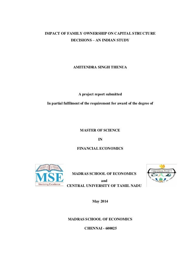 a study on capital structure project report pdf