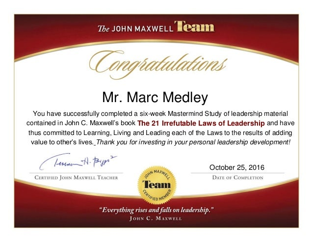 Marc Medley Laws of Leadership Certificate