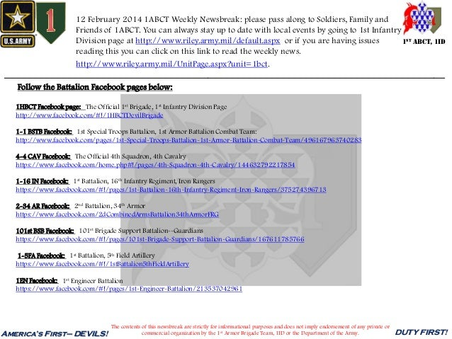 12 February 2014 1ABCT Weekly Newsbreak: please pass along to Soldiers, Family and Friends of 1ABCT. You can always stay u...