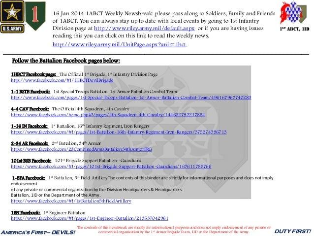 16 Jan 2014 1ABCT Weekly Newsbreak: please pass along to Soldiers, Family and Friends of 1ABCT. You can always stay up to ...