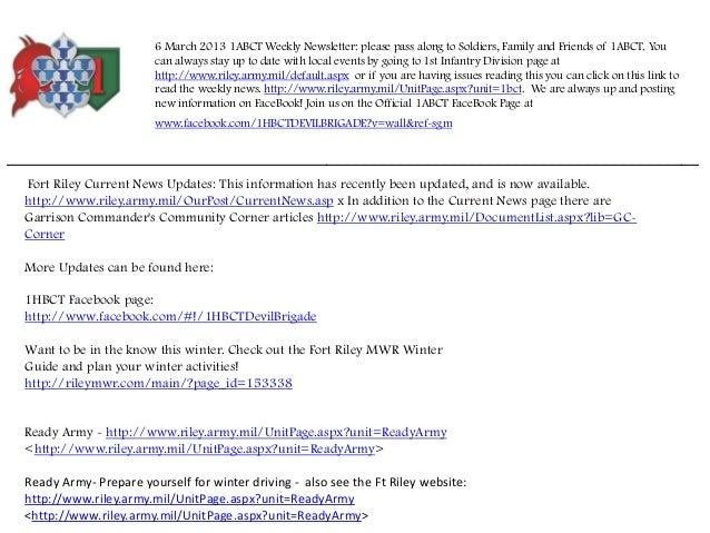6 March 2013 1ABCT Weekly Newsletter: please pass along to Soldiers, Family and Friends of 1ABCT. You                     ...