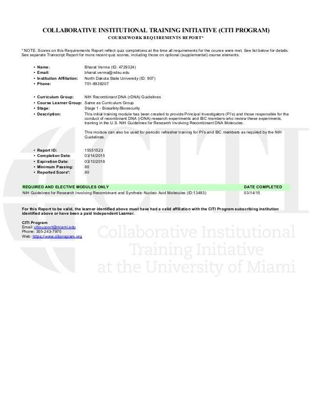 Nih Recombinant Dna Rdna Guidelines Certificate