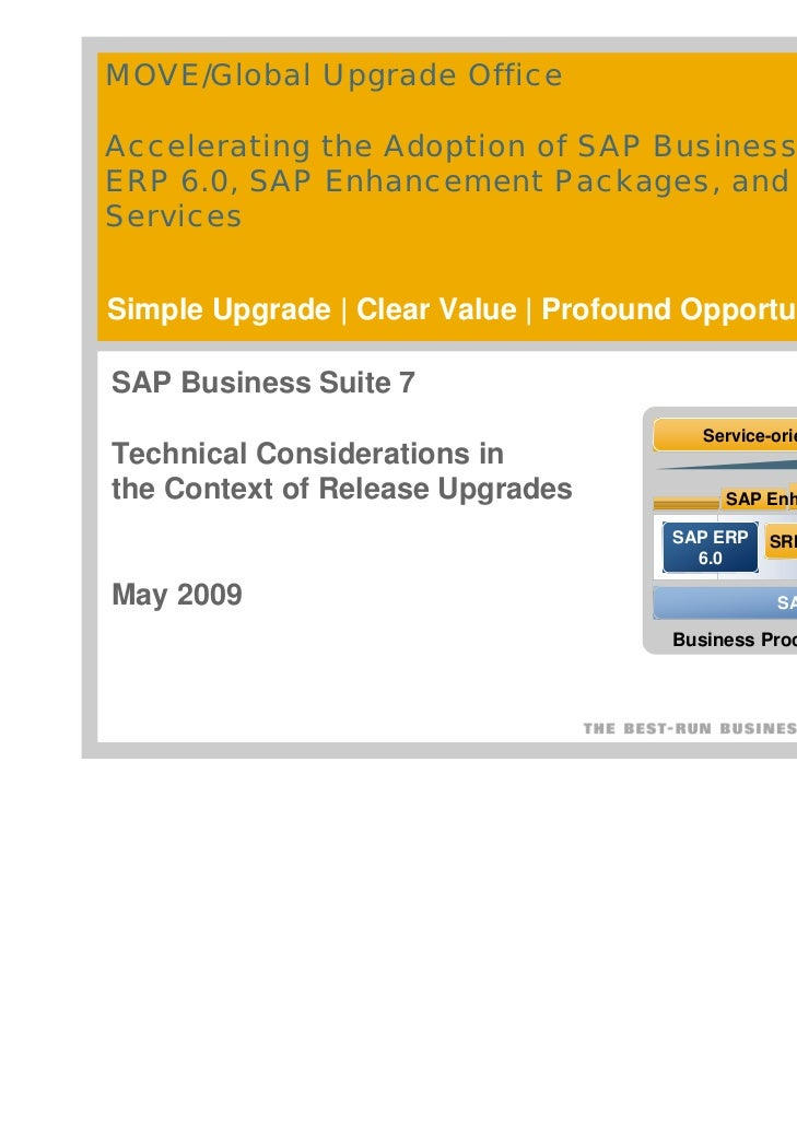 MOVE/Global Upgrade OfficeAccelerating the Adoption of SAP Business Suite, SAPERP 6.0, SAP Enhancement Packages, and Enter...