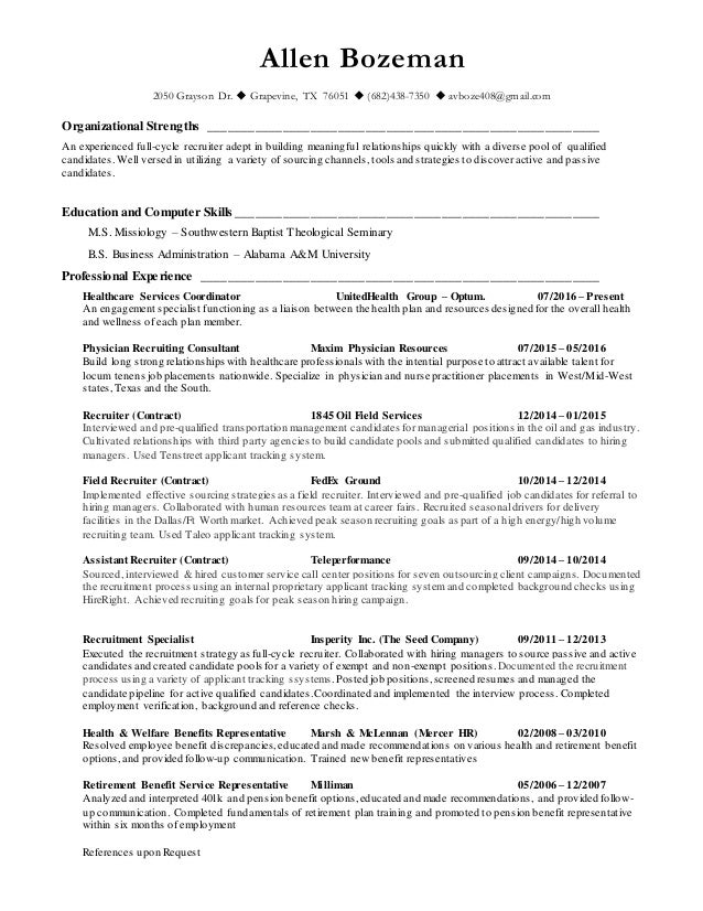 allen s recruiter resume
