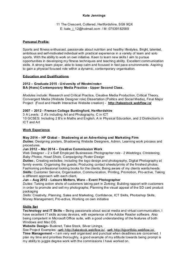 Cv In English Personal Profile