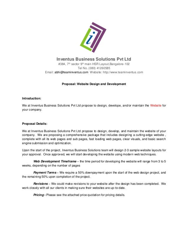 Proposal For Website Development. Inventus Business Solutions Pvt Ltd #384,  7th Sector 9th Main HSR Layout,Bangalore ...