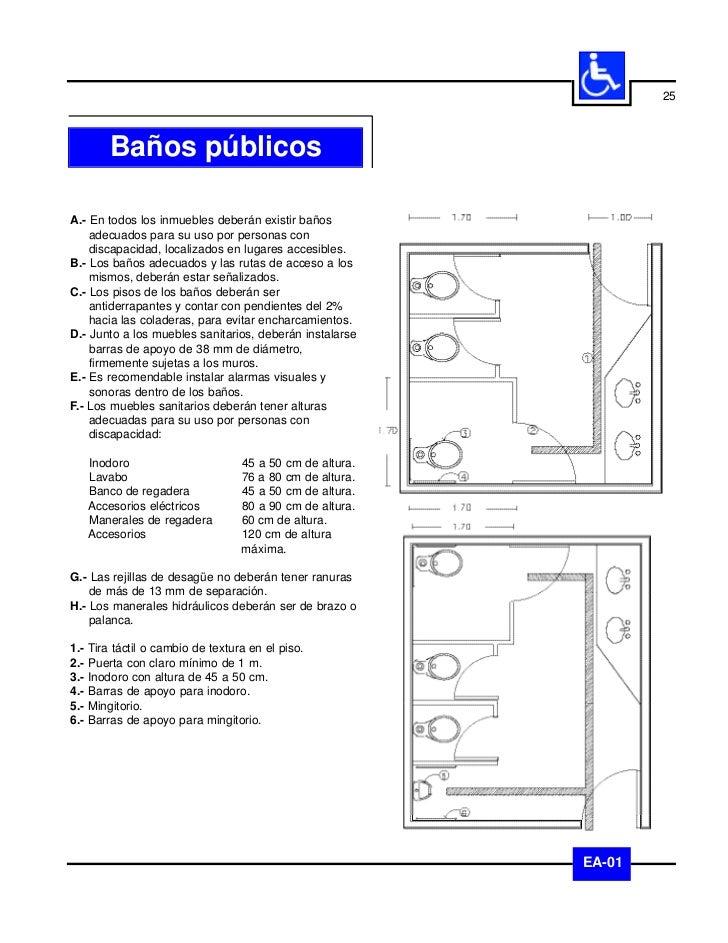 26      Baños: inodorosA.- Los espacios para inodoros deberán cumplir con   las especificaciones generales indicadas en el...
