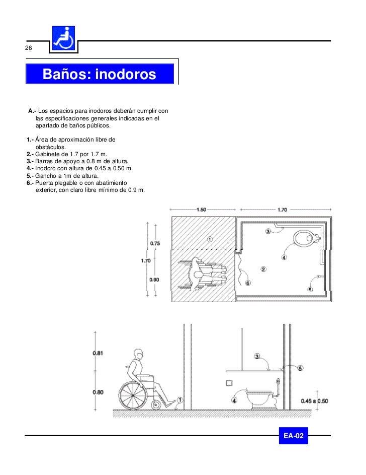 27     Baños: regaderasA.- Los espacios para regaderas deberán cumplir con    las especificaciones generales indicadas en ...