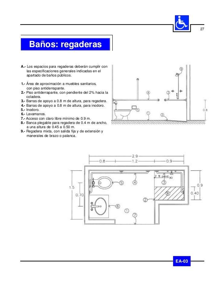 28           Baños: tinasA.- Los espacios para tinas deberán cumplir con las    especificaciones generales indicadas en el...