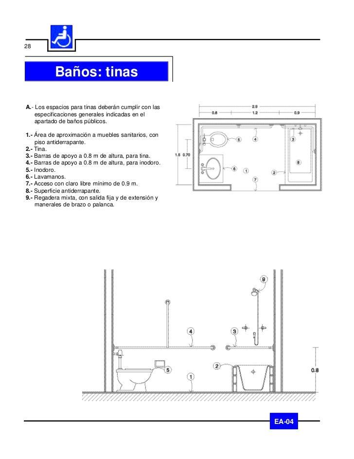 29   Baños: lavamanosA.- Los espacios para lavamanos, deberán cumplir con    las especificaciones generales indicadas en e...