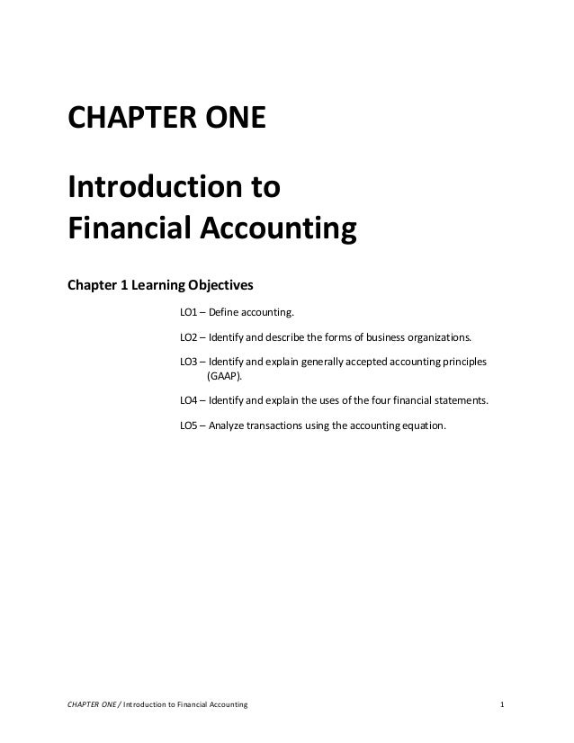 intro to financial accounting 1 Reinforcement to your reading chapter 1 the nature of accounting accounting  is the process of recording, summarizing, analyzing, and interpreting financial.