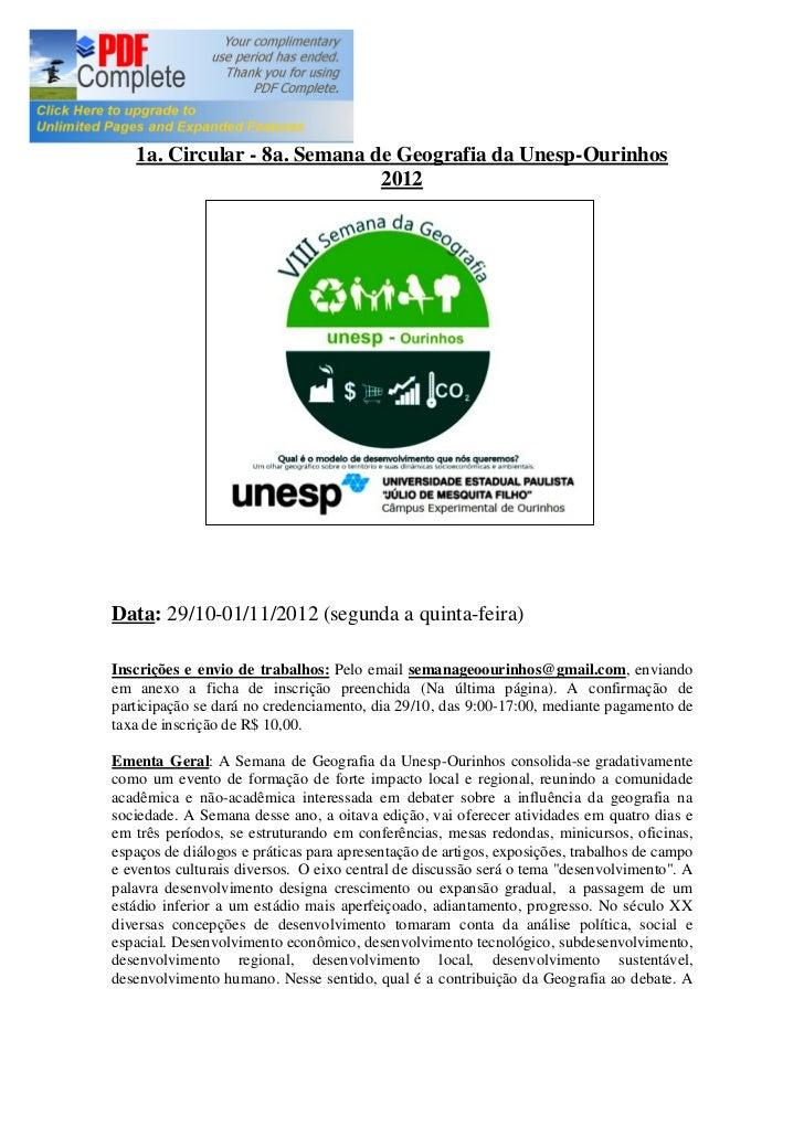1a. Circular - 8a. Semana de Geografia da Unesp-Ourinhos                              2012Data: 29/10-01/11/2012 (segunda ...