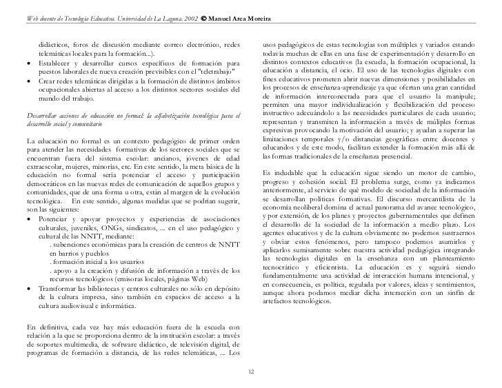 Web docente de Tecnología Educativa. Universidad de La Laguna. 2002  Manuel Area Moreira    didácticos, foros de discusió...