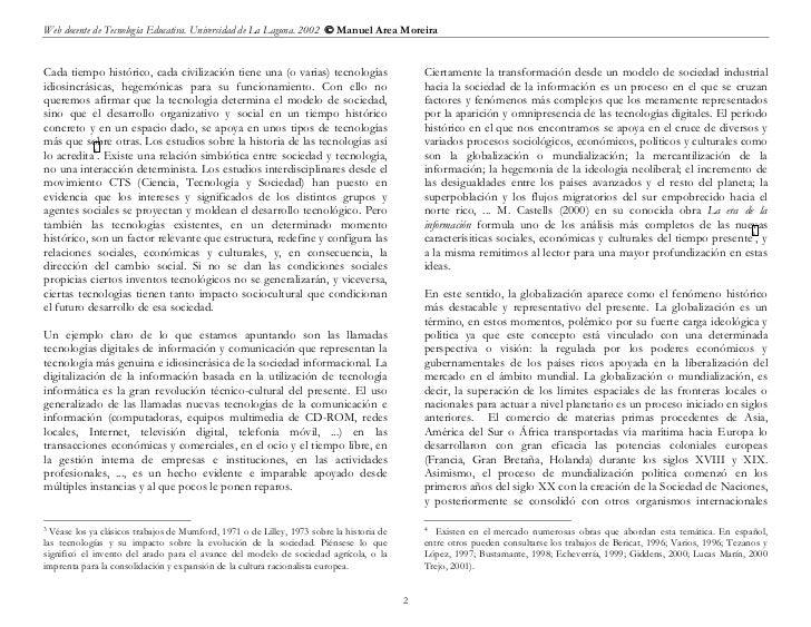 Web docente de Tecnología Educativa. Universidad de La Laguna. 2002  Manuel Area MoreiraCada tiempo histórico, cada civil...