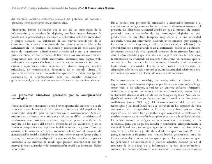 Web docente de Tecnología Educativa. Universidad de La Laguna. 2002  Manuel Area Moreiradel mercado aquellos colectivos s...
