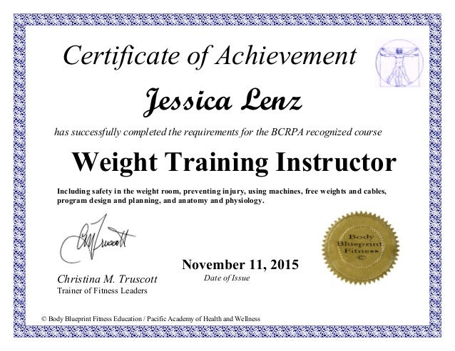 Diploma weight body blueprint fitness education pacific academy of health and wellness certificate of achievement jessica malvernweather Images