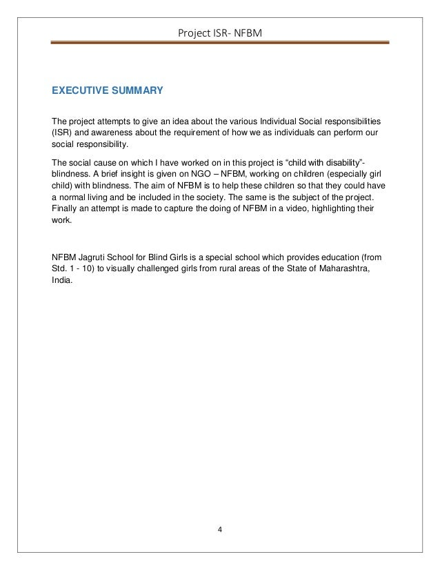 Project report ISR – Executive Summary Format for Project Report