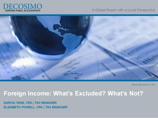 Foreign Income: What's Excluded? What's Not?