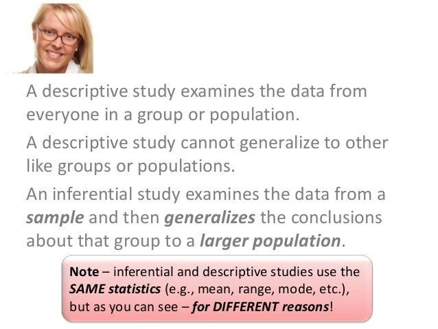 examine the differences between descriptive and inferential statistics To examine differences between  • inferential statistics which examine relationships or associations between two or more variables answer research.