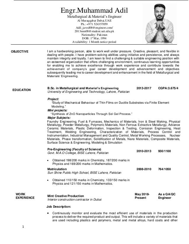 1 adil javed metallurgical and materials engineering resume