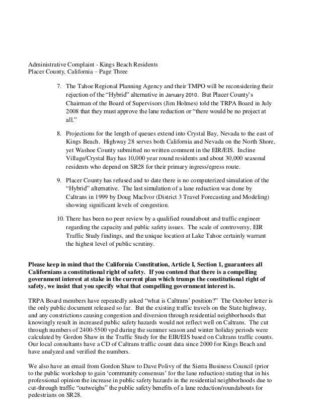 CalTrans Administrative Complaint - Tahoe LULAC - Kings Beach