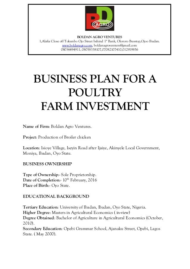 Write a business plan for a broiler farm