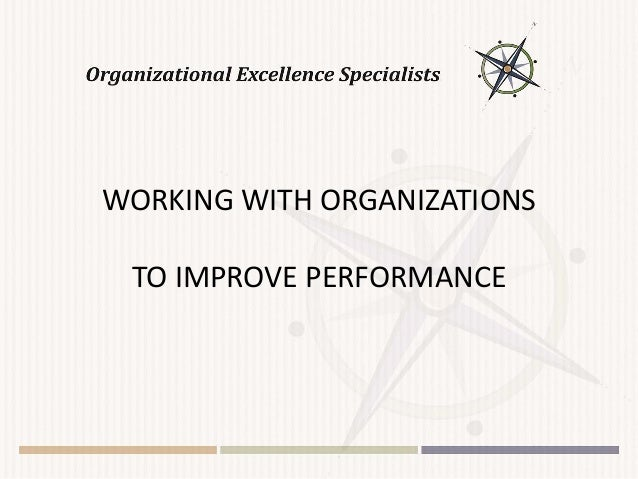 WORKING WITH ORGANIZATIONS TO IMPROVE PERFORMANCE