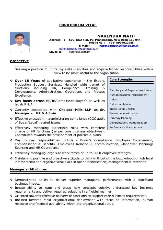 Resume Narendra Nath 12 Nov 16