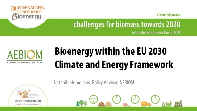 Bioenergy within the EU 2030 Climate and Energy Framework Nathalie Hemeleers, Policy Advisor, AEBIOM