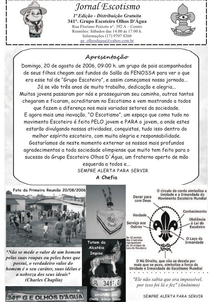 Jornal Escotismo                                1ª Edição - Distribuição Gratuita                              341°. Grupo...