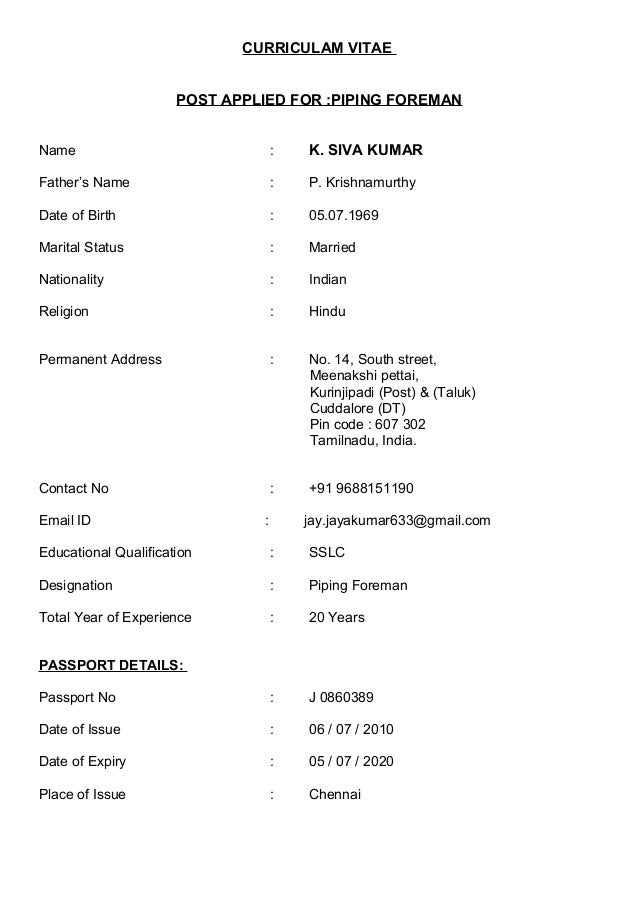 piping foreman resume – Piping Supervisor Resume