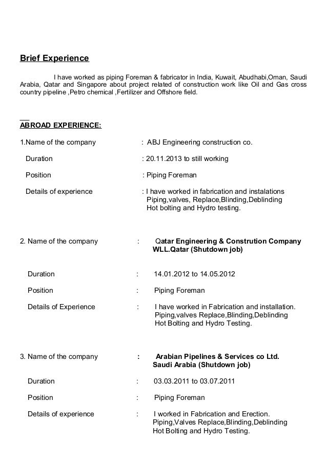 Piping foreman resume