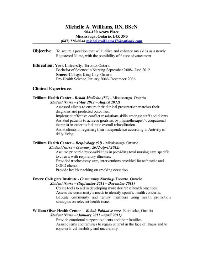 Resume Examples Nursing Example Student Nurse Resume Free Sample