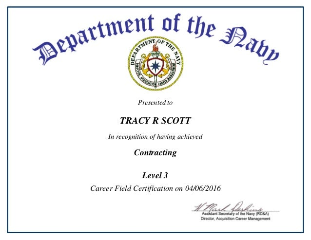 level certification contracting recognition presented having