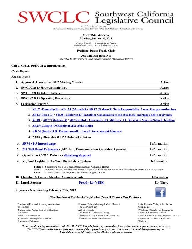 MEETING AGENDA                                                                  Monday, January 28, 2013                  ...
