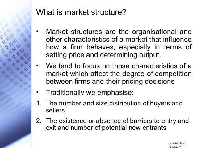 explain how market structures determine pricing and output decisions A dominant firm is a firm that has at least forty per cent of their given market price and output under a pure monopoly a monopolist can take market demand as its own demand curve the.