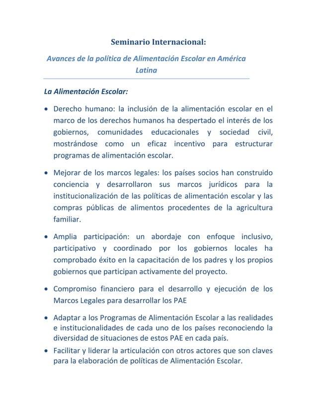 Seminario Internacional: Avances de la política de Alimentación Escolar en América Latina La Alimentación Escolar:  Derec...