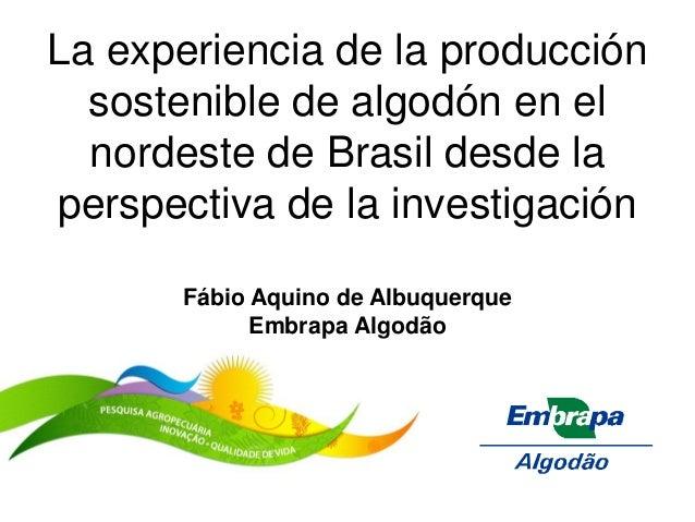 La experiencia de la producción sostenible de algodón en el nordeste de Brasil desde la perspectiva de la investigación Fá...