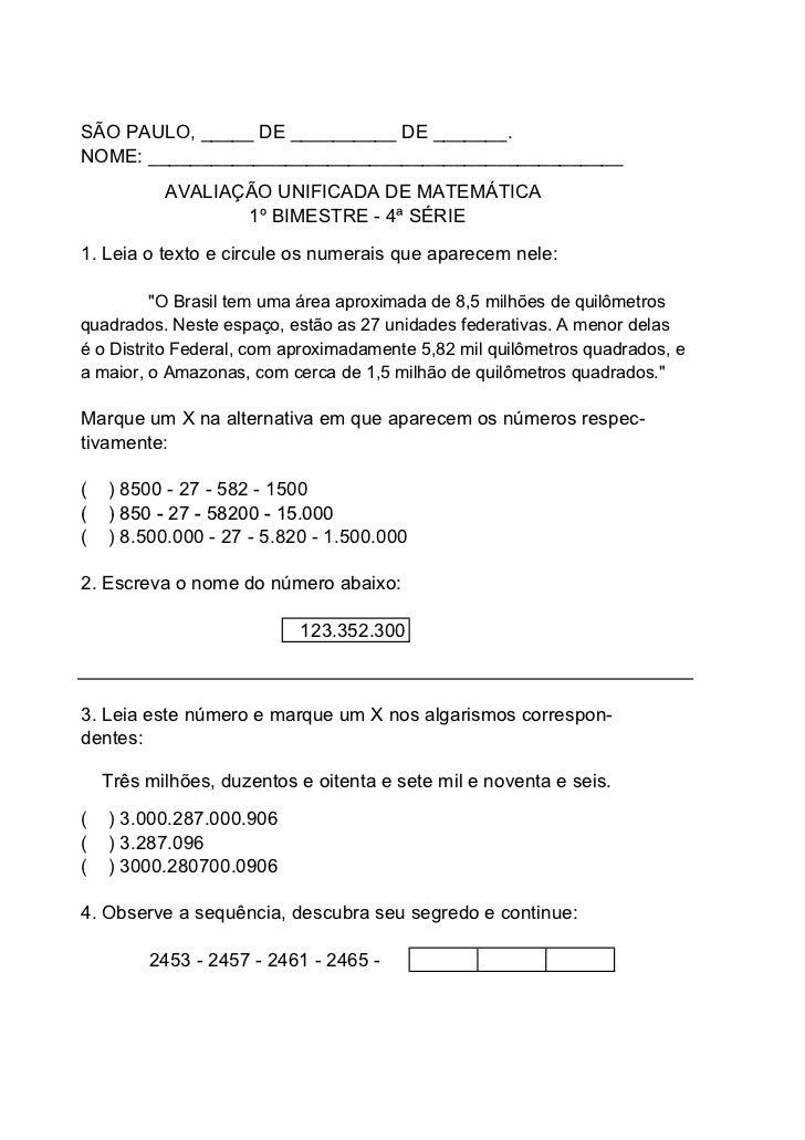 SÃO PAULO, _____ DE __________ DE _______.NOME: _____________________________________________           AVALIAÇÃO UNIFICAD...